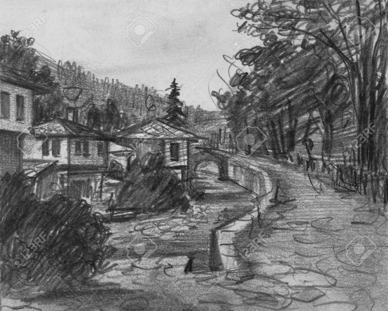 Pencil black and white drawing of traditional old bulgarian houses