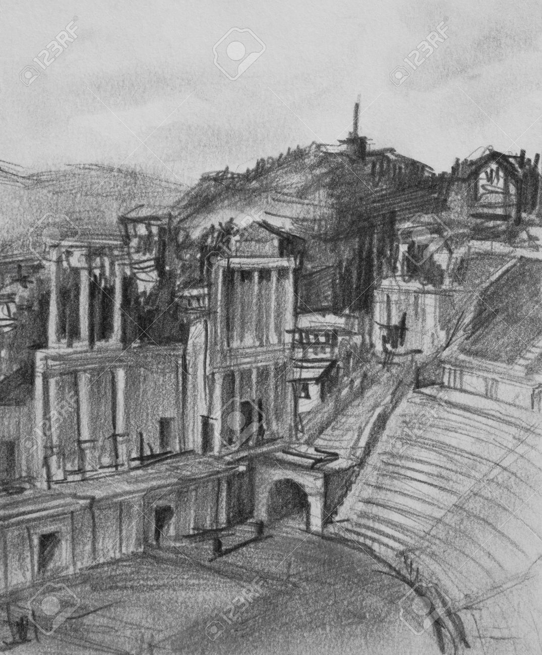 Pencil black and white drawing of antique theatre in plovdiv