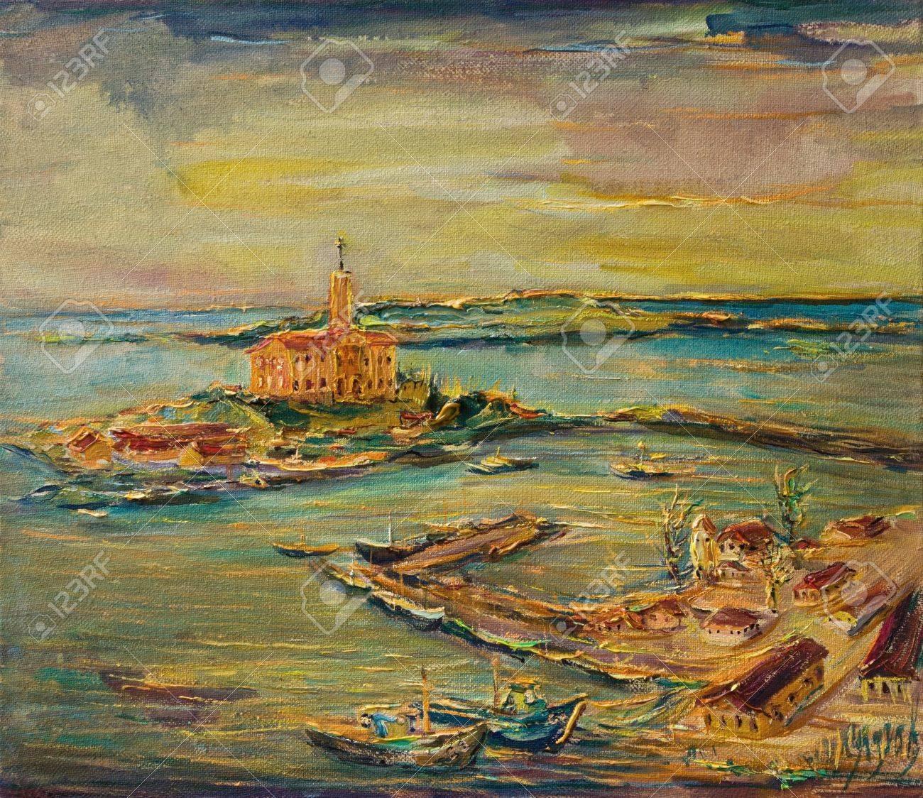 Paintings of Seaside Scenes a Colorful Seaside Scene