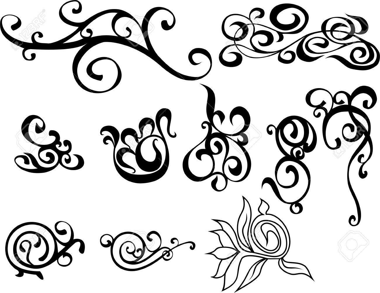 Original black and white decorative ornaments stock vector 4962661