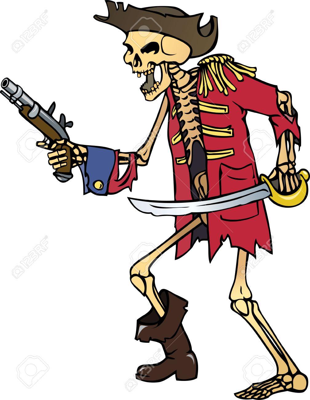 Ilustración De Vector De Color Del Esqueleto De Capitán Pirata ...