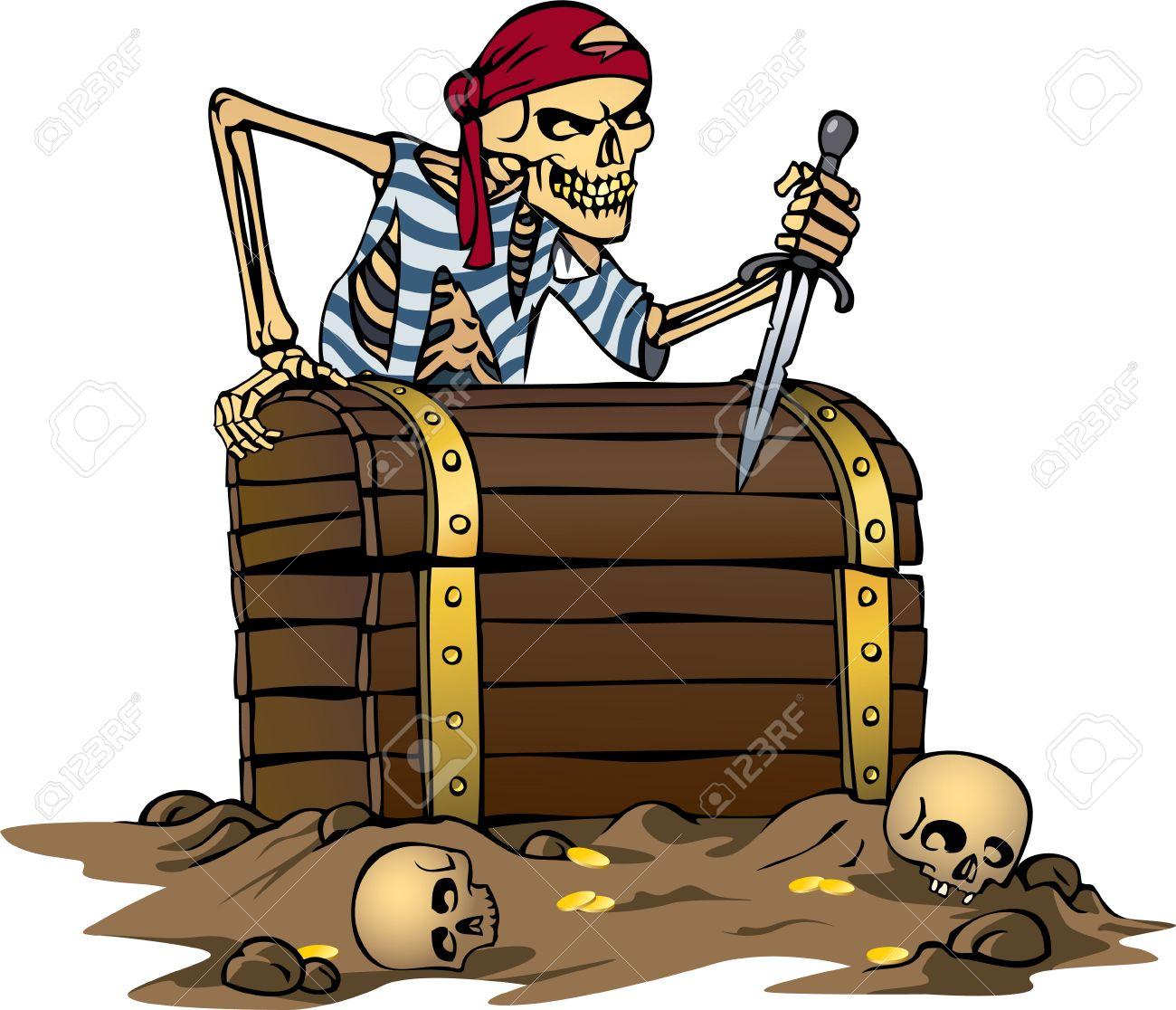 Ilustración De Vector De Color Del Esqueleto De Pirata Con Cofre Del ...
