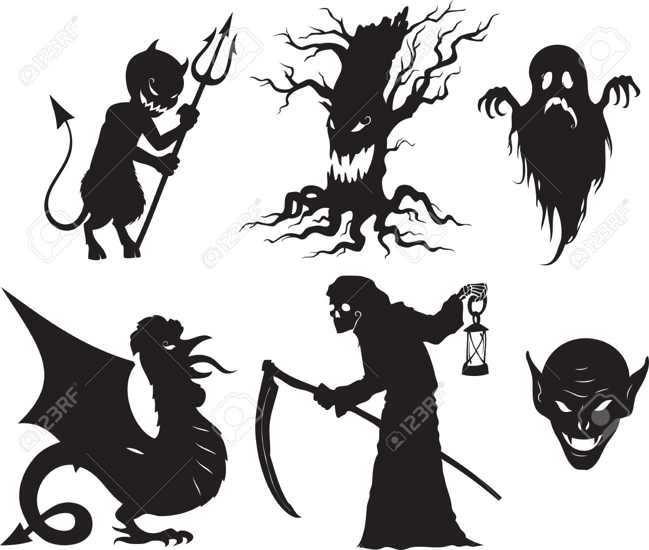 Halloween Vector Black And White.Black And White Cartoon Shapes On Halloween Theme