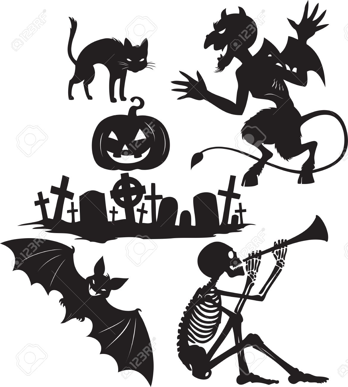 Black and white cartoon shapes on Halloween theme Stock Vector - 7898726
