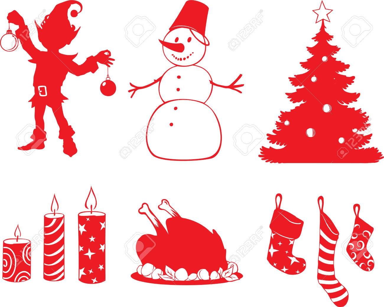 Christmas Shapes.Set Of Vector Christmas Shapes In Cartoon Style