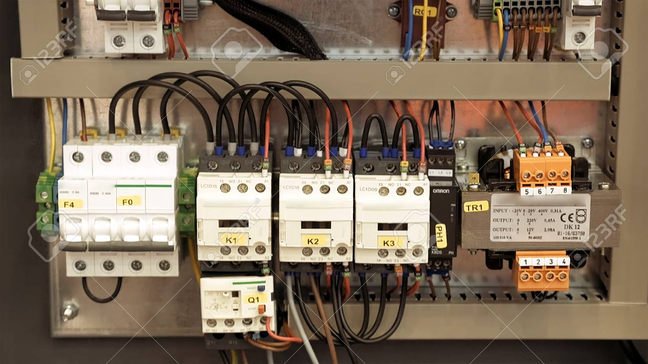 Electric Box With Wires And Power Fuse Switches. Safe Electrical ...