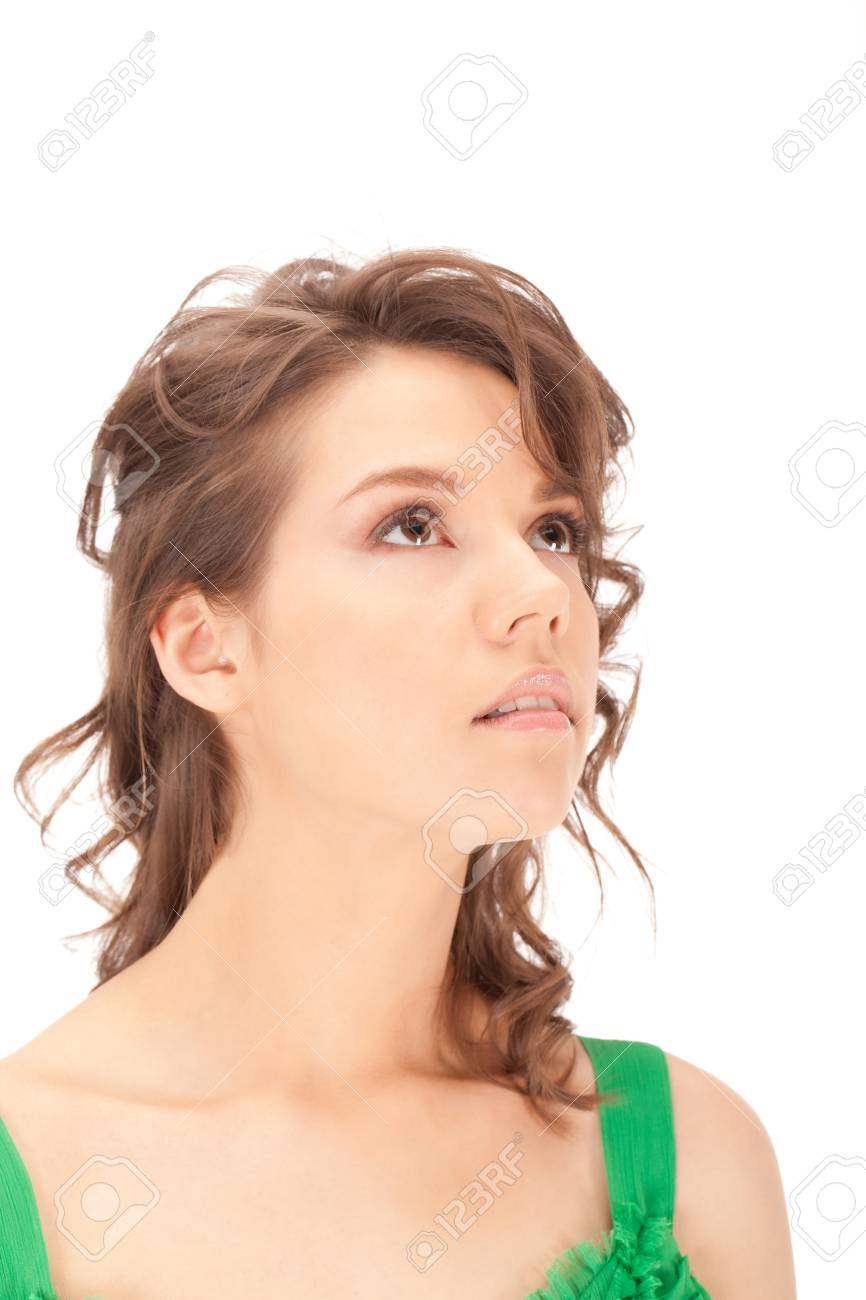 Young lady is looking up for the light. Stock Photo - 10817857