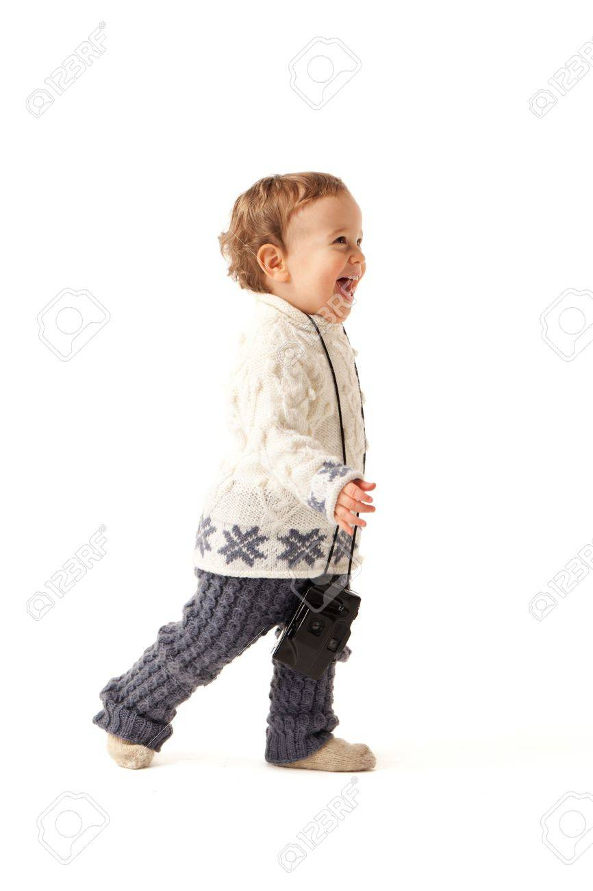 Little boy is in hurry to photo you Stock Photo - 12999395