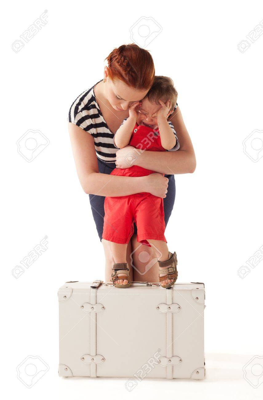 Little boy is crying and rejecting to go home after vacations Stock Photo - 13183664