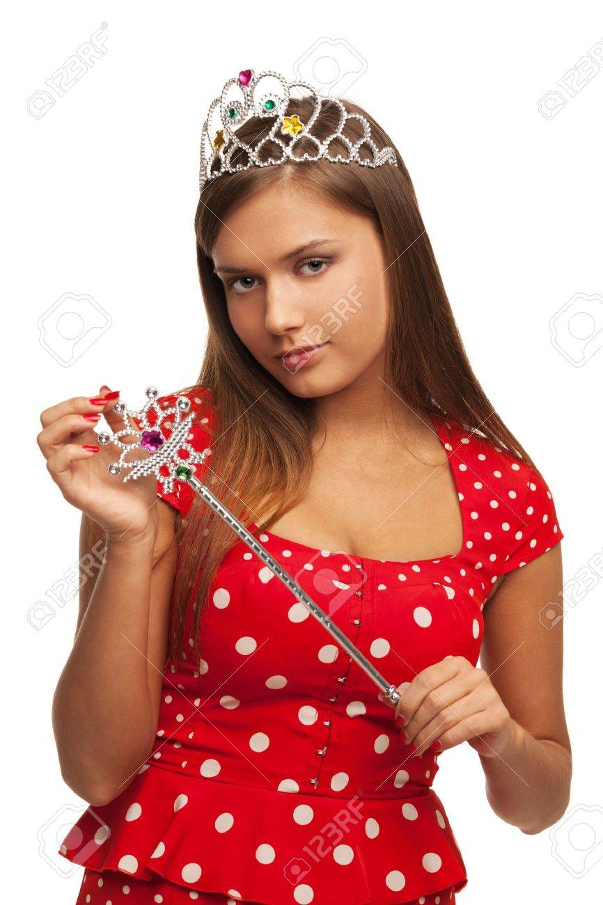 The pageant queen with crown and sceptre Stock Photo - 13902207