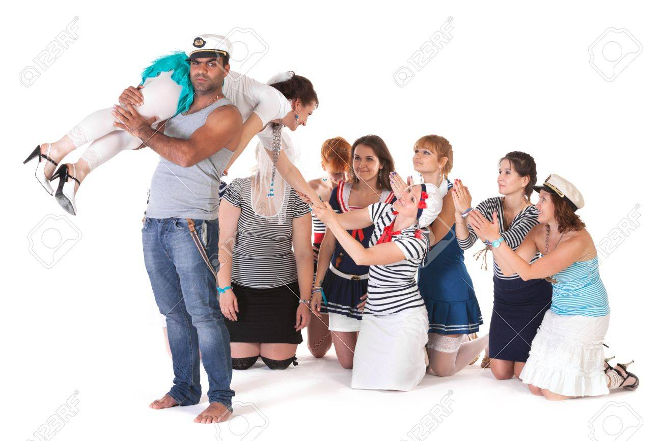 Ideas for hen party: angry mariner abducts bride Stock Photo - 14616151