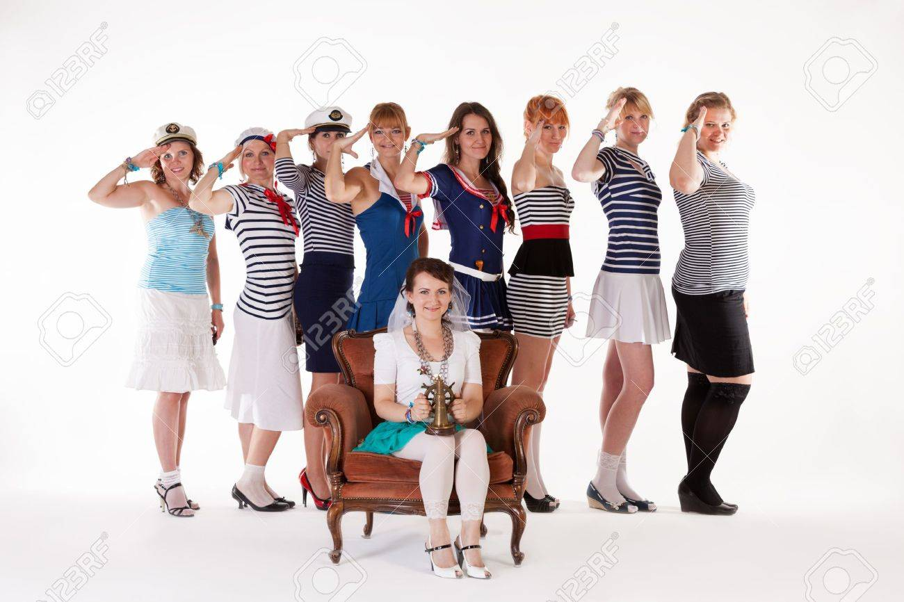 Ideas for hen party: bridesmaids saluting bride Stock Photo - 14721980