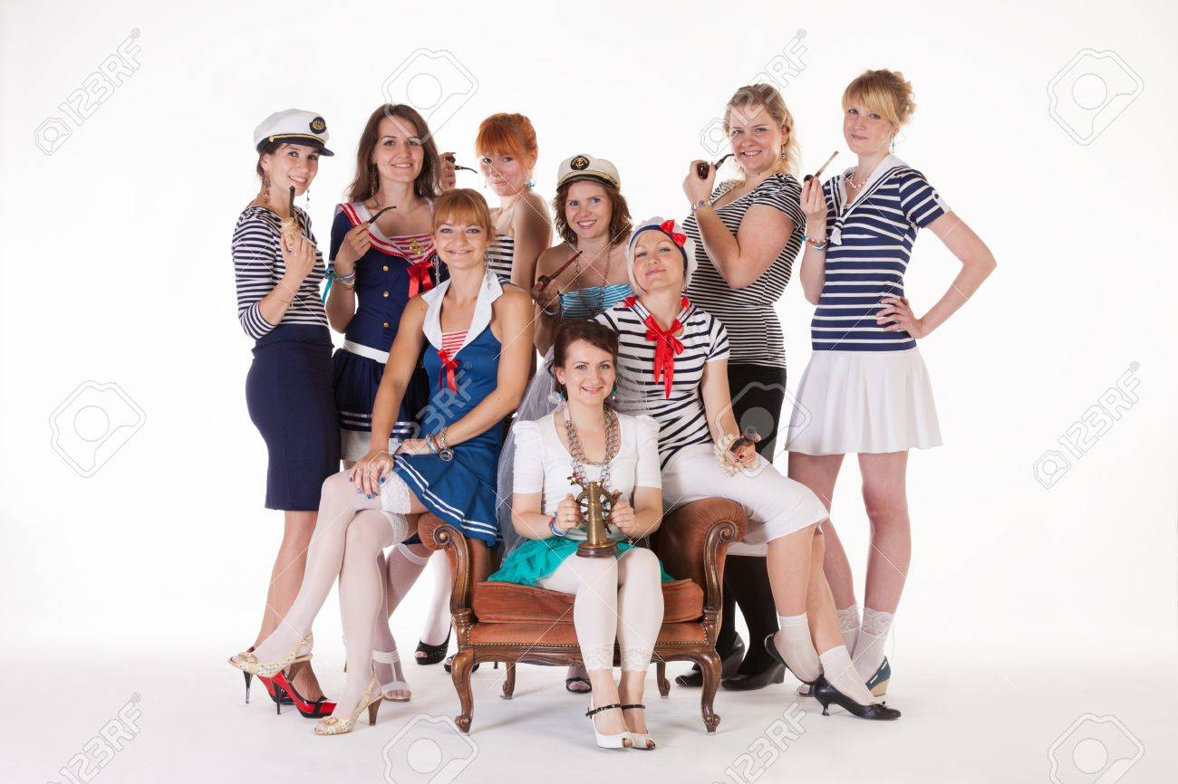 Ideas for hen party: bride and her maids are mariners Stock Photo - 14721982