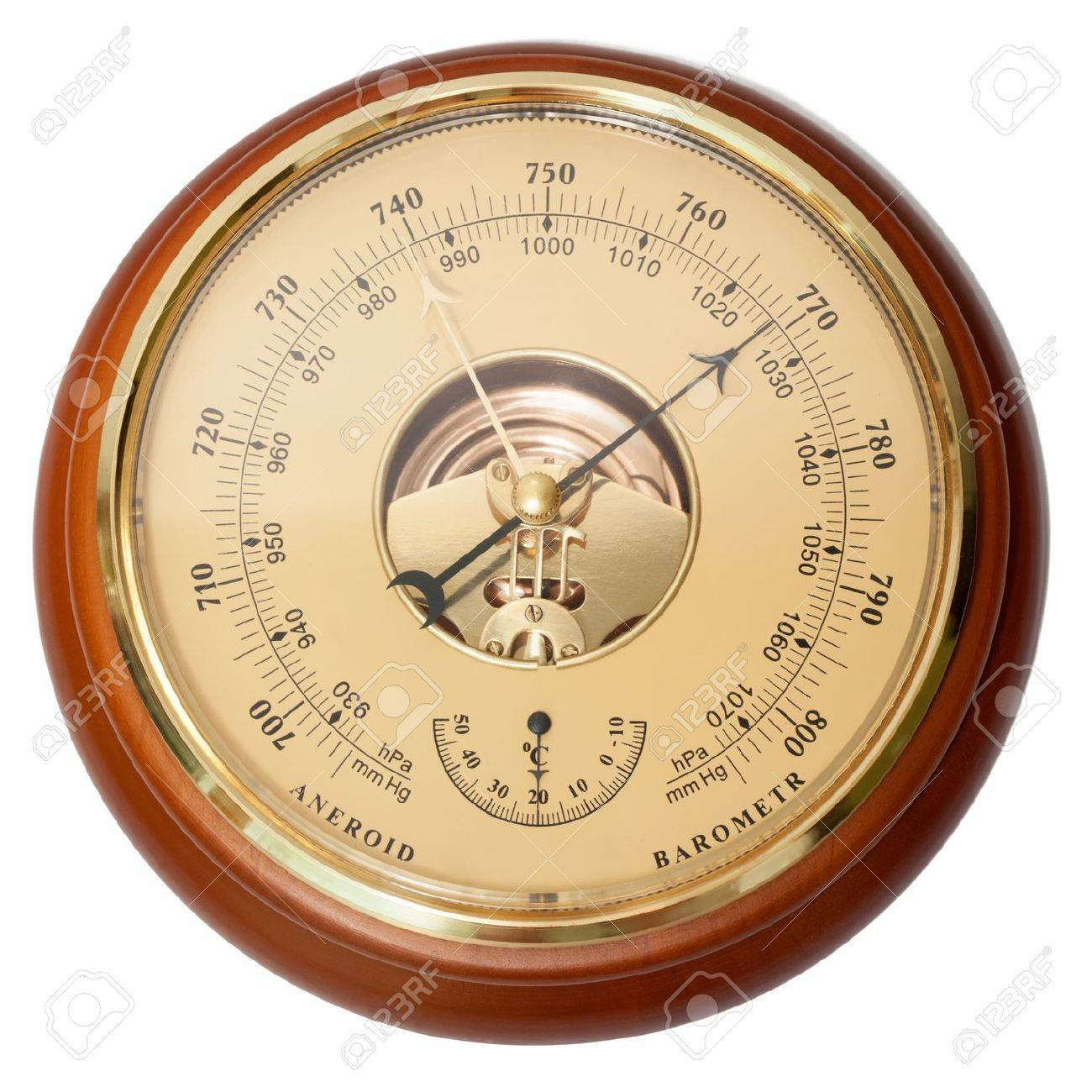 Vintage aneroid barometer on isolated white Stock Photo - 17565530