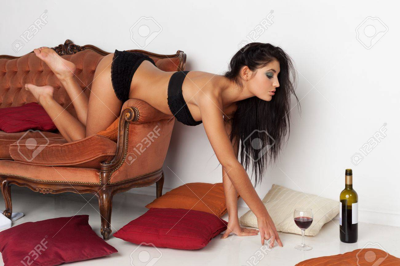 Attractive girl is seduced by red wine Stock Photo - 18501382