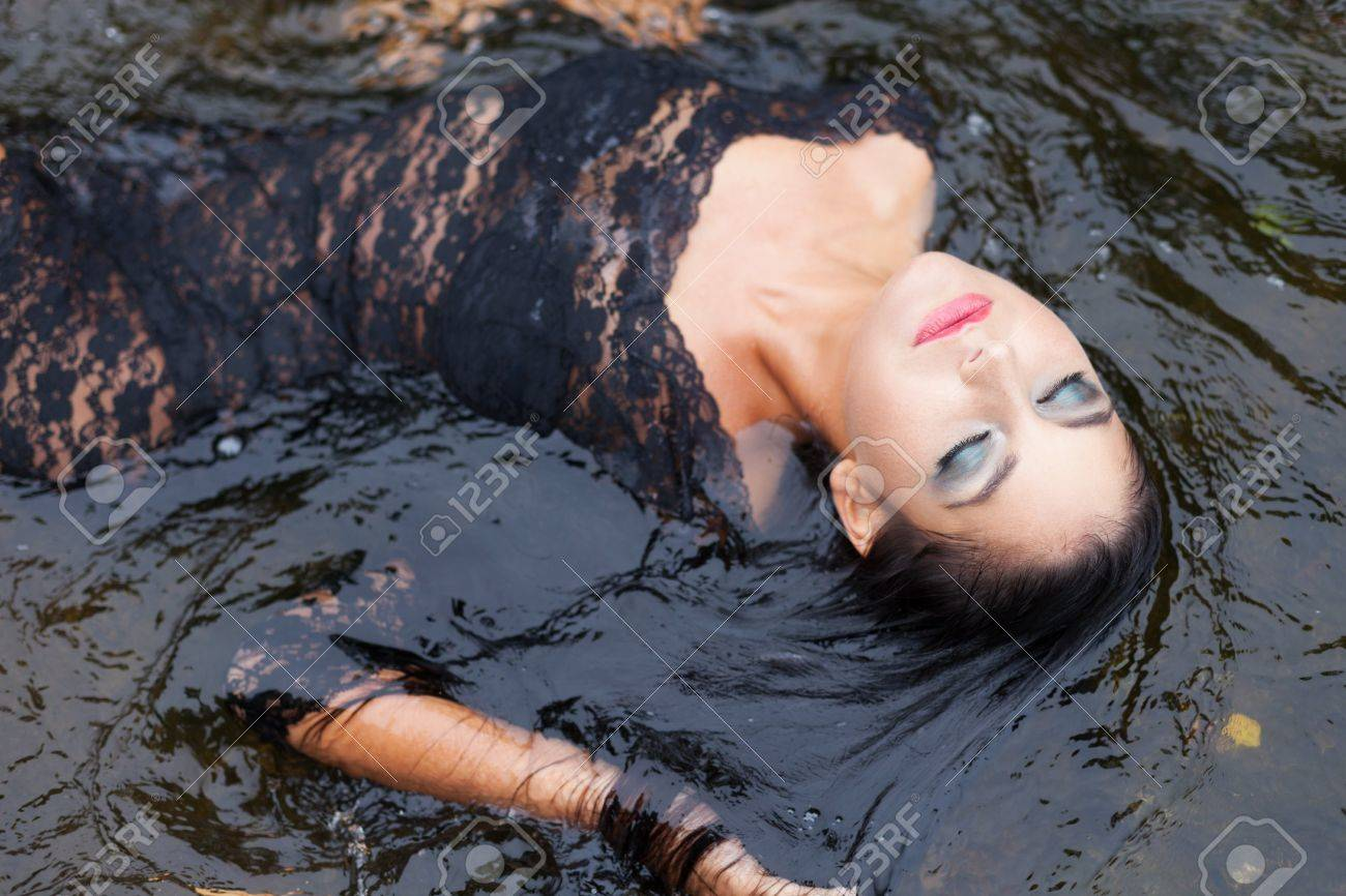 Luxury girl relaxing in floating water Stock Photo - 21613143