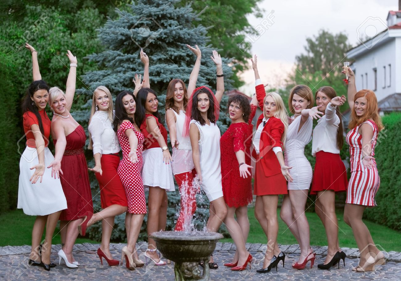 Hen party: bridesmaid in white and red Stock Photo - 30975504
