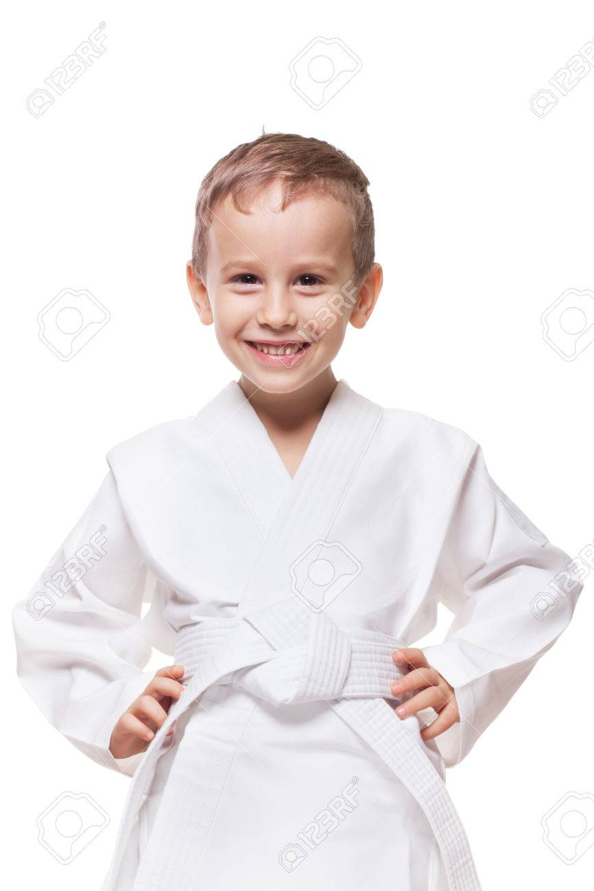 Smiling charming kid in brand new kimono on isolated white Stock Photo - 47050218