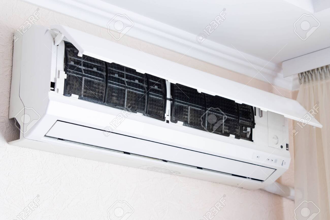 Home air conditioner open for cleaning - 130390140