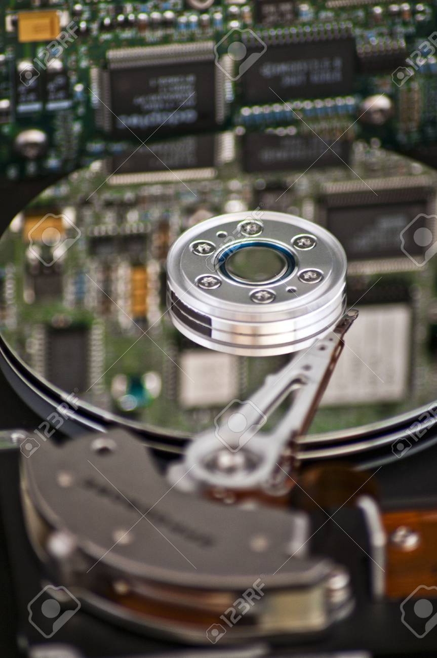 Closeup and macro view of hard drive inside Stock Photo - 7818083