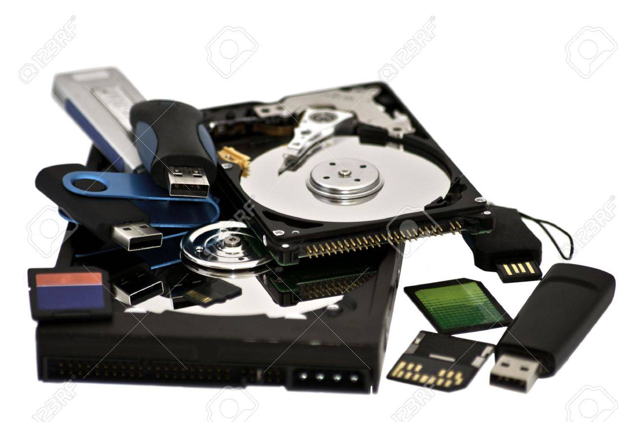assortred digital storage devices isolated on white background Stock Photo - 7818123