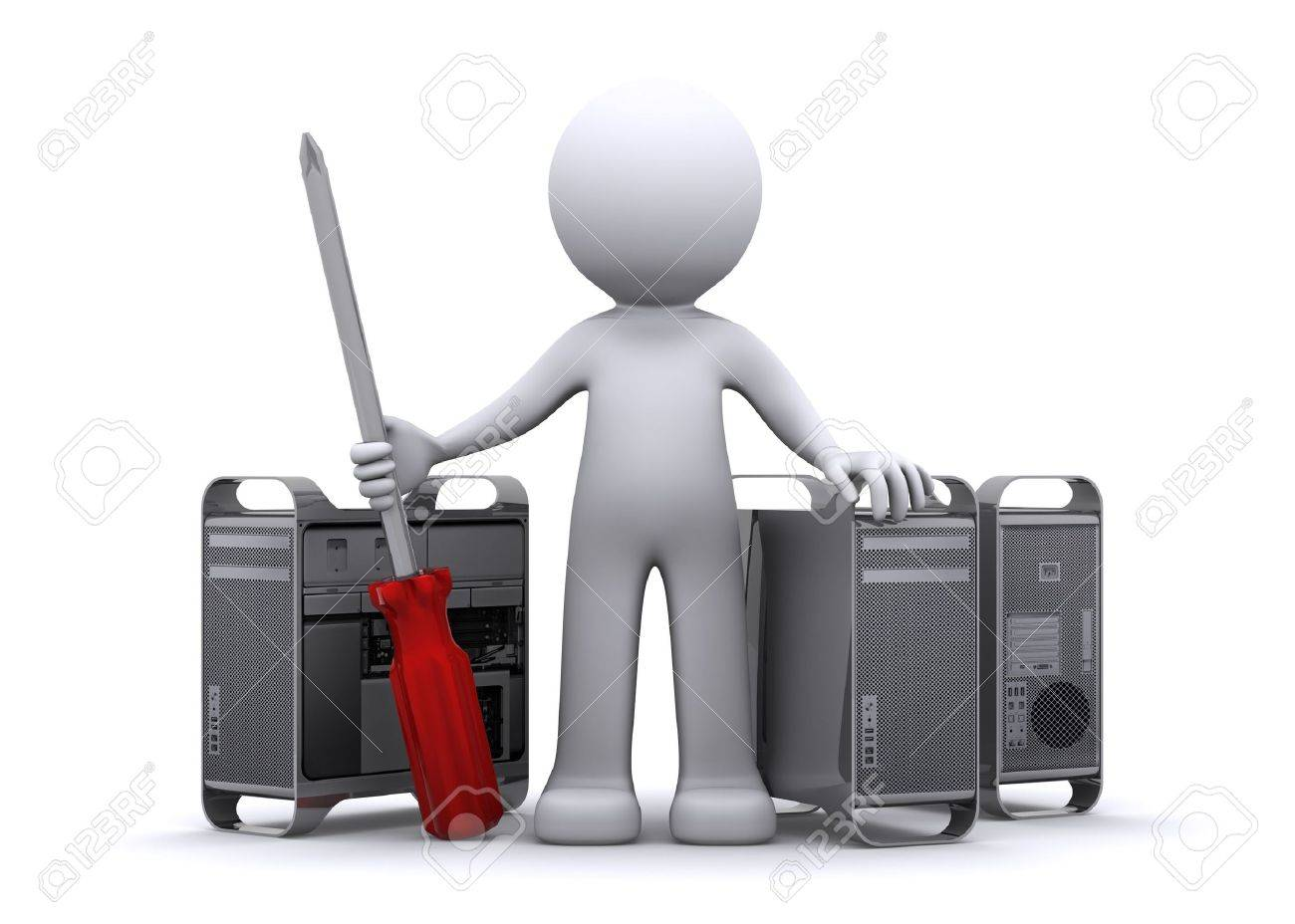 3d Technician Repairing PC Stock Photo, Picture And Royalty Free ...