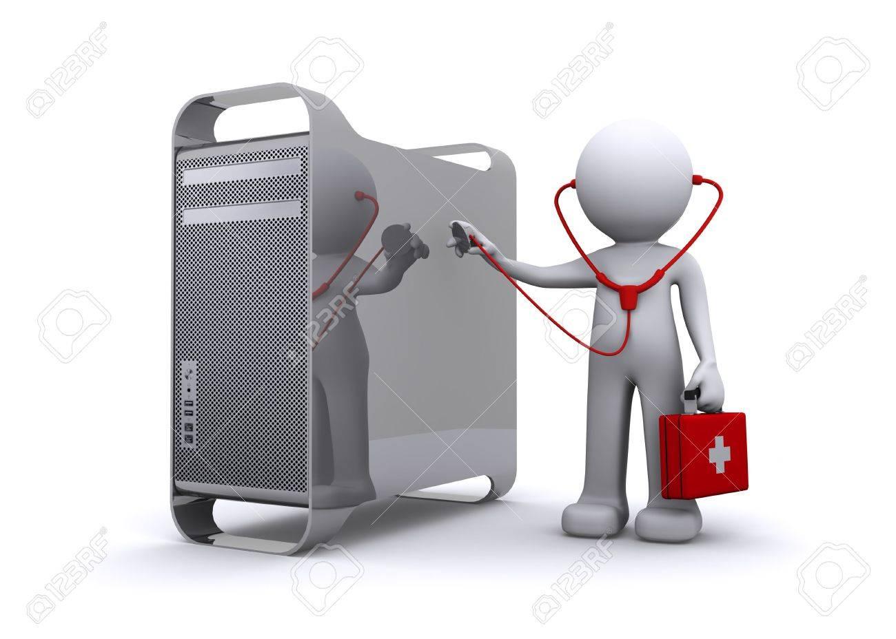 doctor examining a pc Stock Photo - 8109031