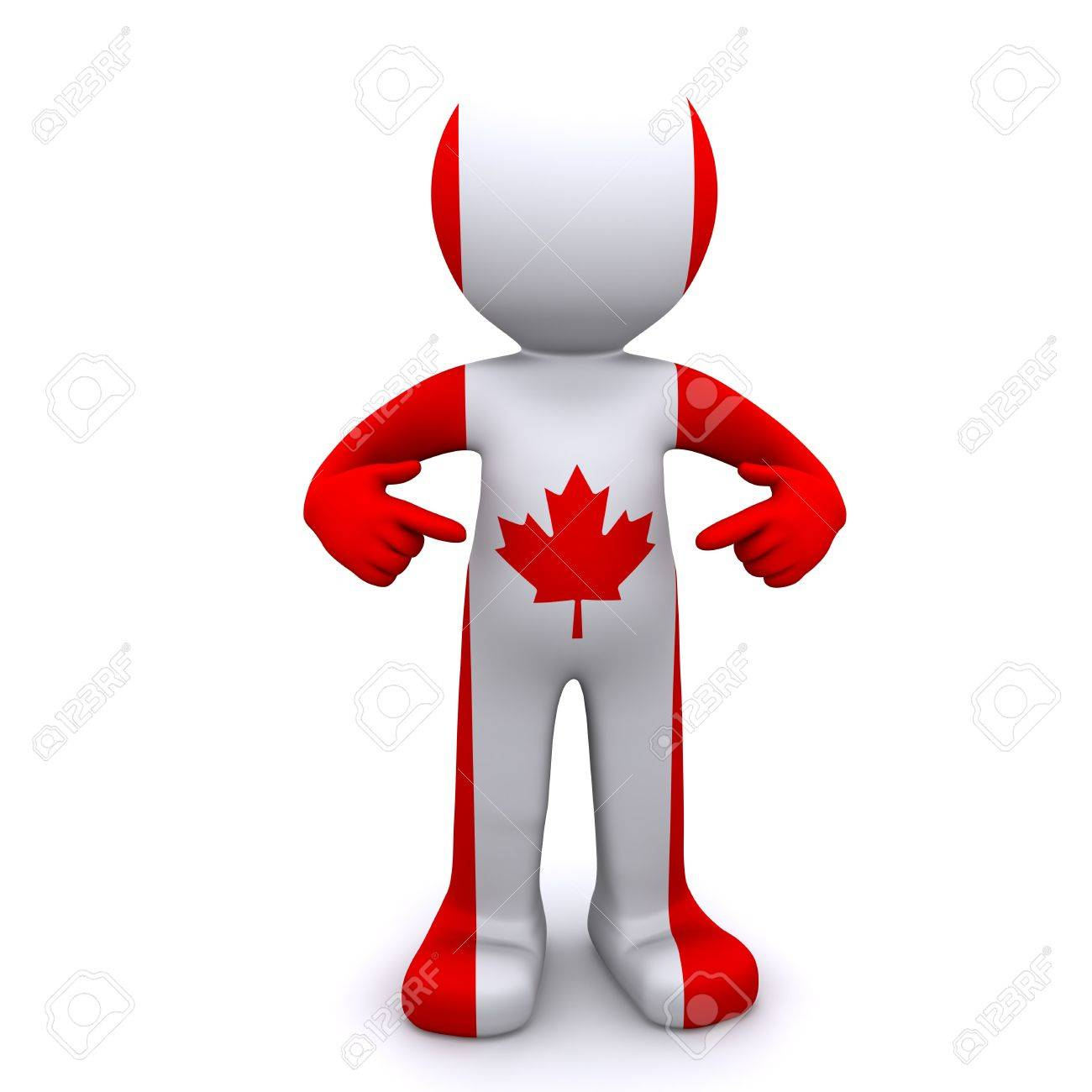 3d character textured with the canadian flag isolated on white