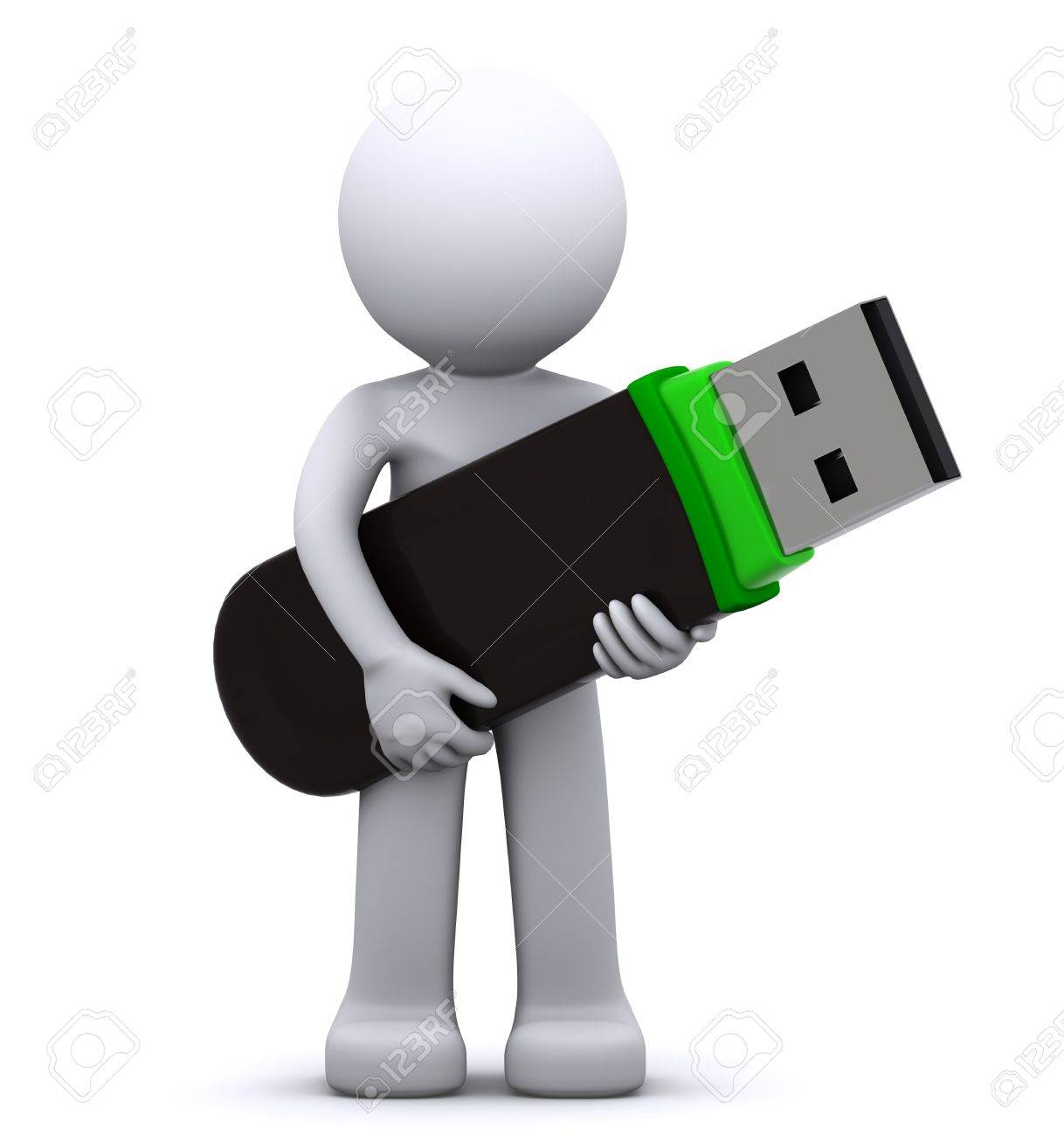 3d character with usb flash drive isolated on white Stock Photo - 9821562