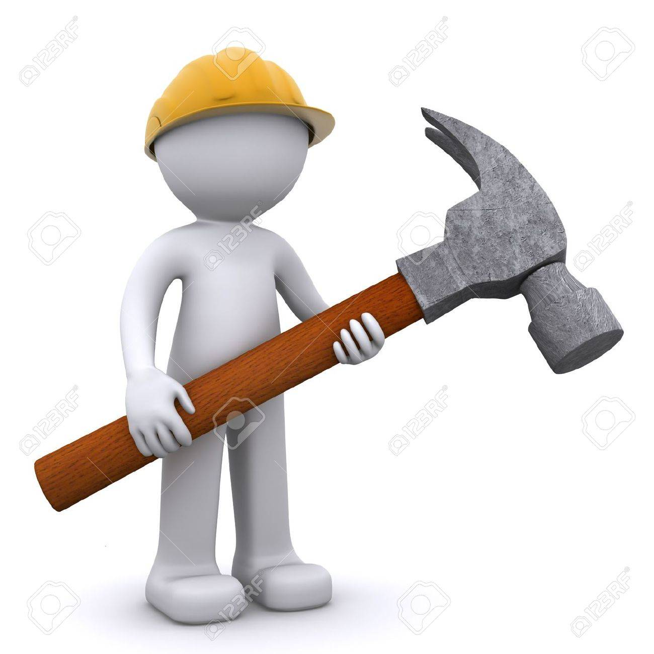 3D construction worker with hammer. Isolated Stock Photo - 8267877