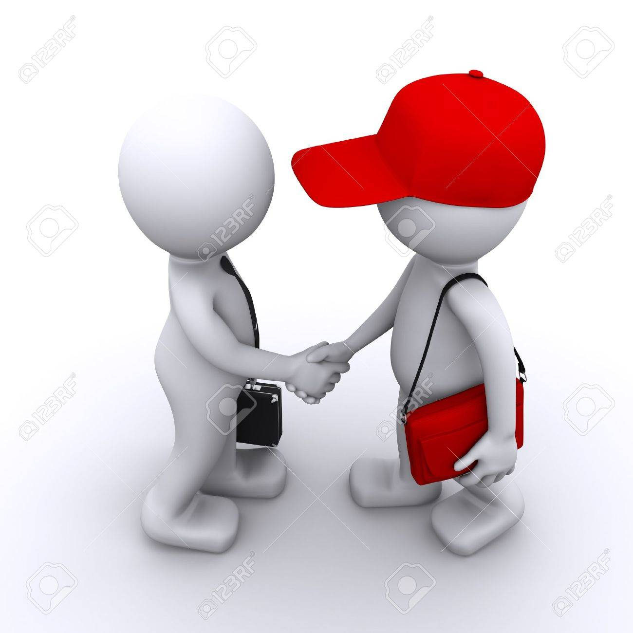 3d businessman shaking hands with customer Stock Photo - 8486873