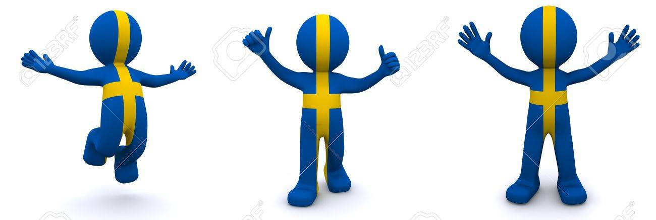 3d character textured with flag of Sweden isolated on white background Stock Photo - 8486874