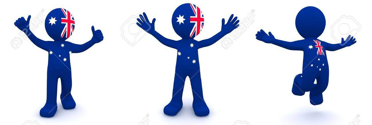3d character textured with flag of Australia isolated on white background Stock Photo - 9332359