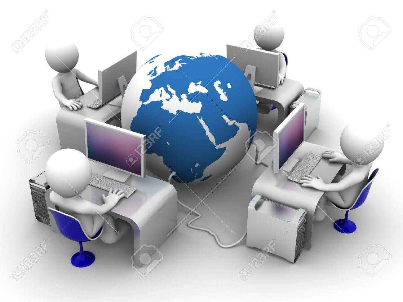 Global computer network. Conceptual image on white background Stock Photo - 9332381