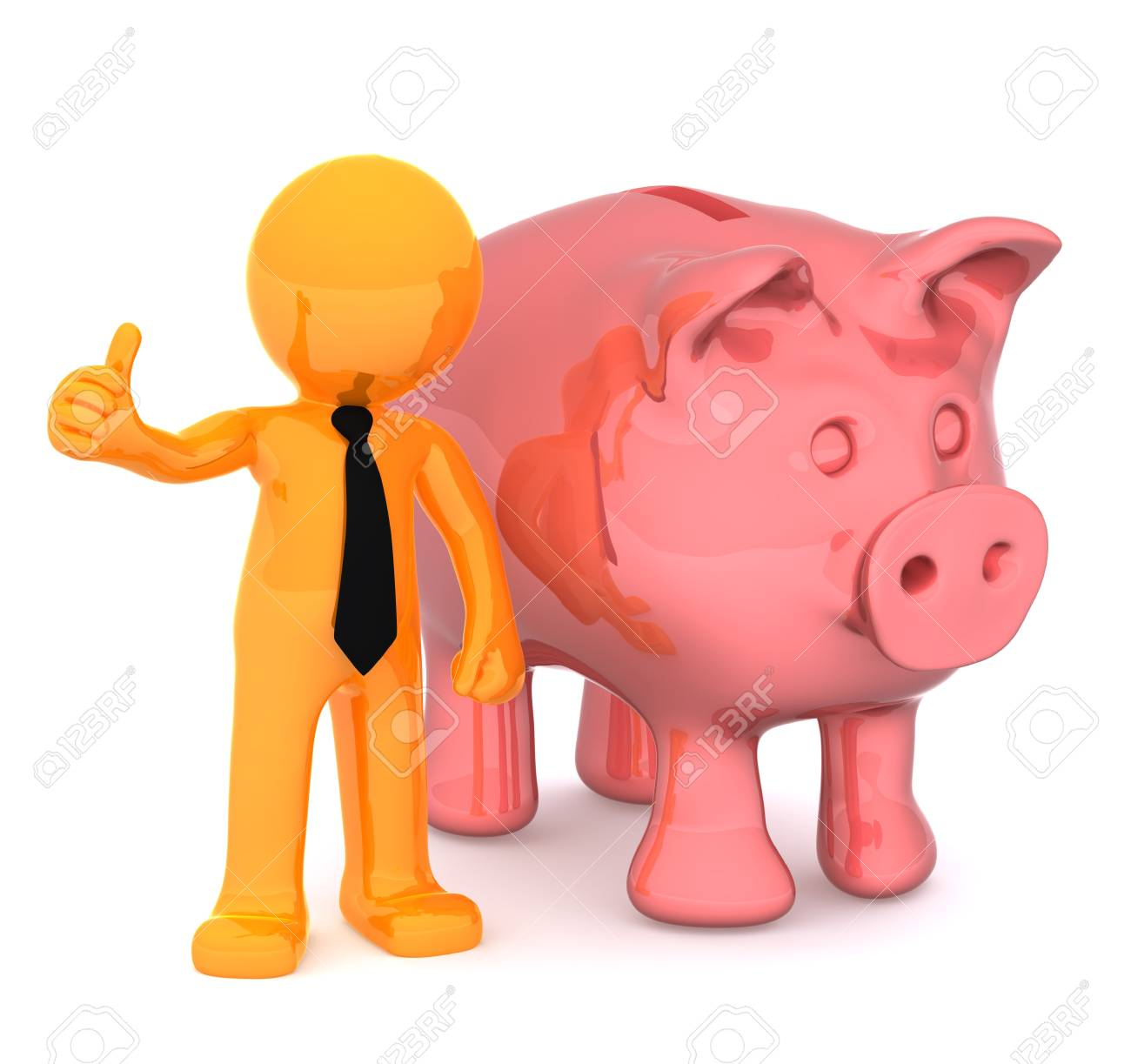 Businessman with piggybank giving a thumbs up. Conceptual business illustration. Isolated on white background Stock Illustration - 9790489
