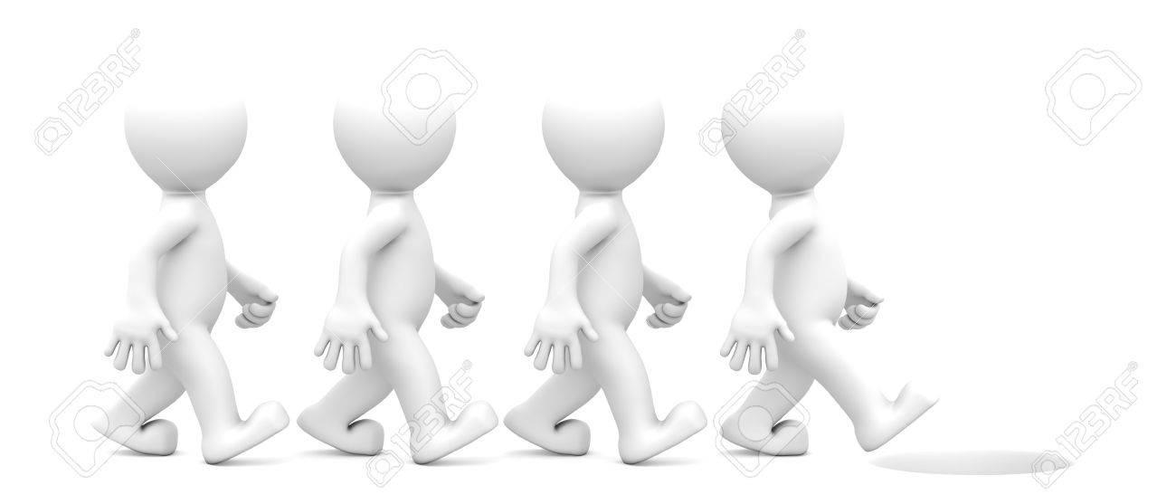 Group of people walking toward dangerous hole. Isolated on white background Stock Photo - 9790482