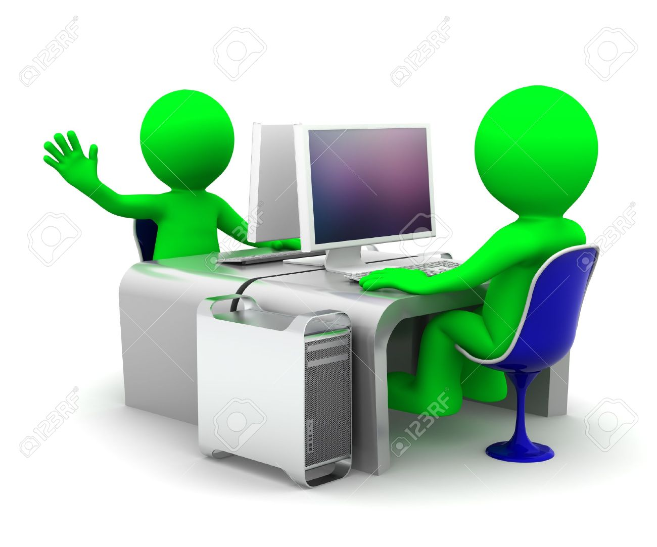 Team of two computer experts at workplace. On white background Stock Photo - 9989561