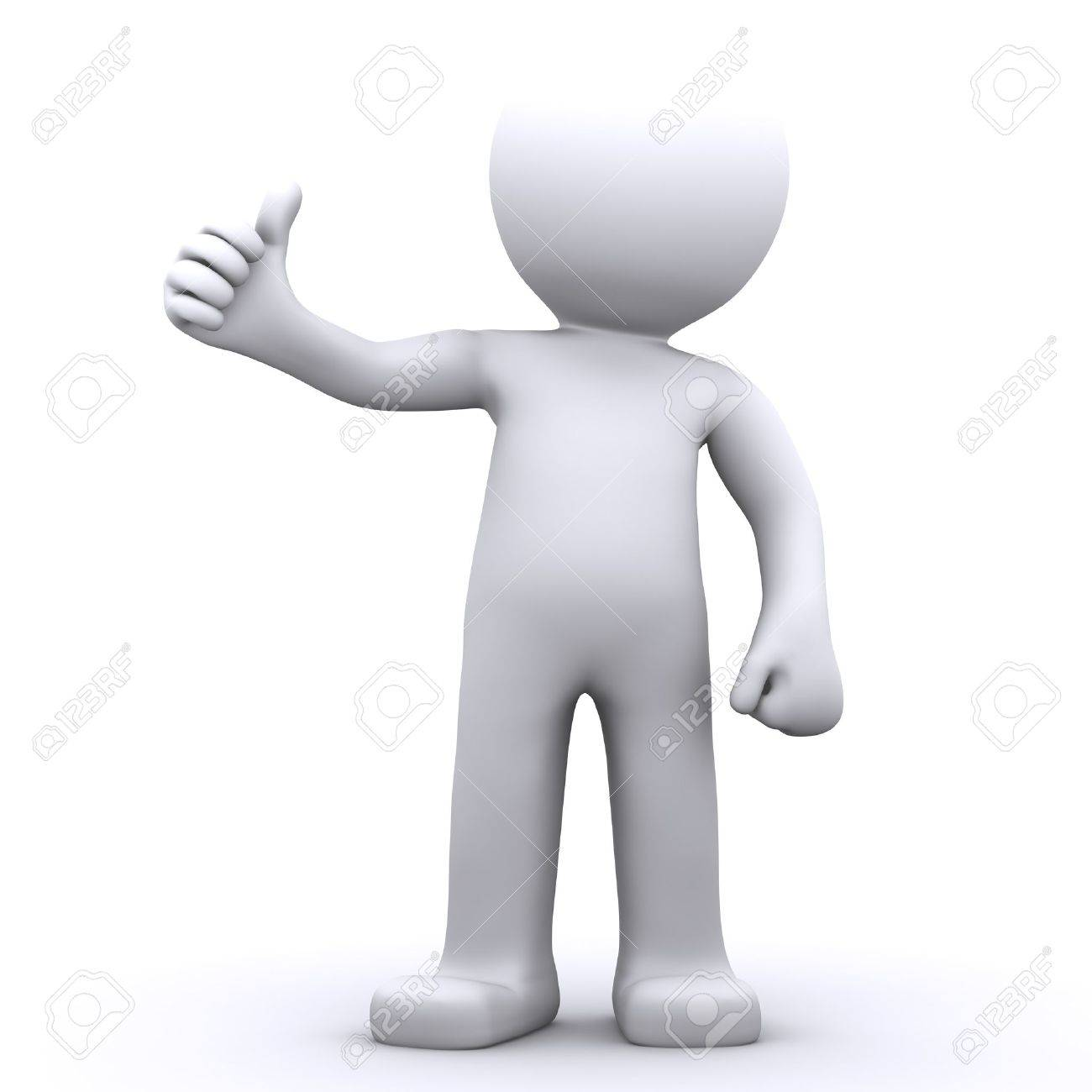 3d character man showing thumbs up. Isolated onwhite background Stock Photo - 9989538