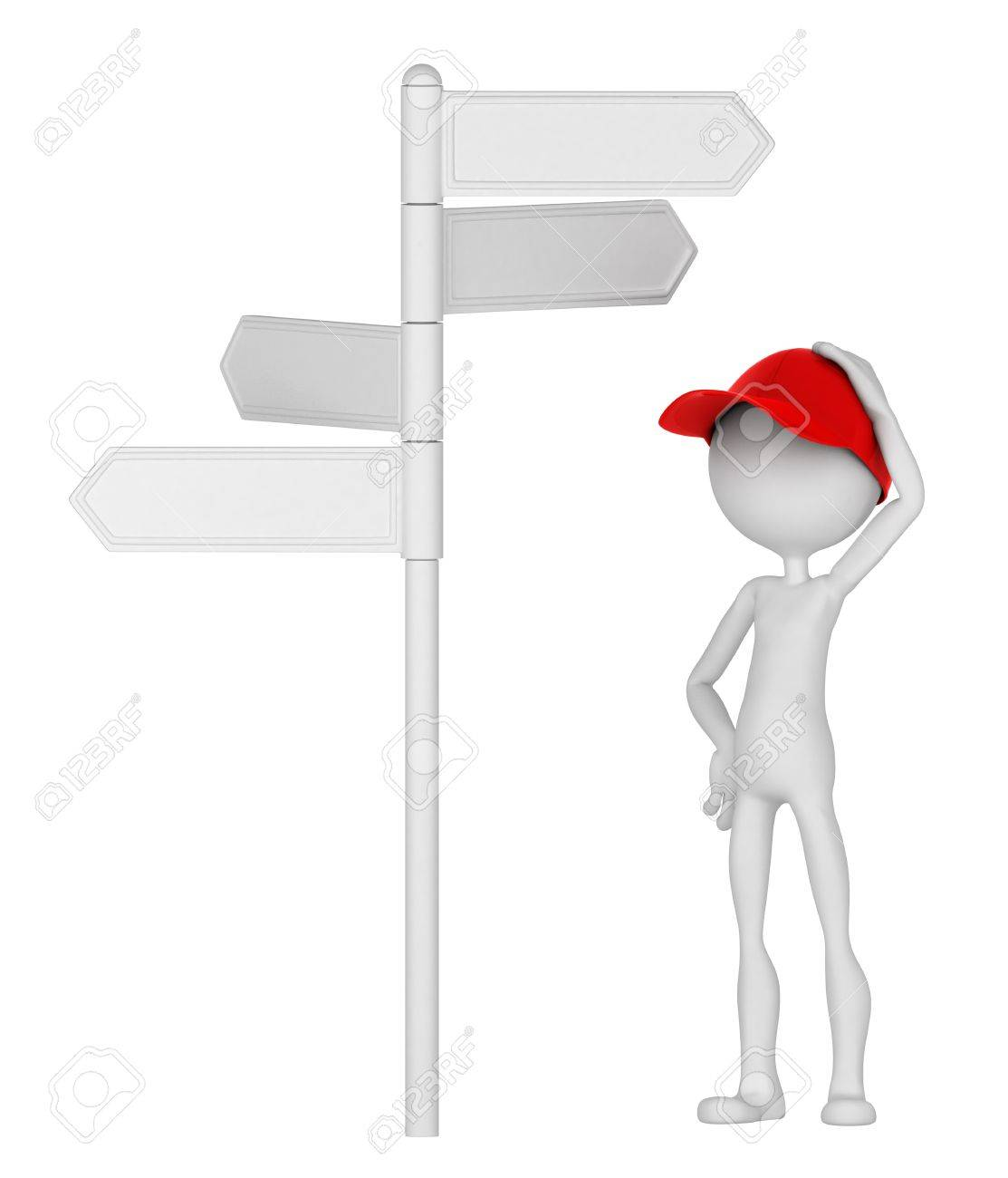 3d Man standing under signpost in a thoughtful pose. Isolated on white background Stock Photo - 10711448