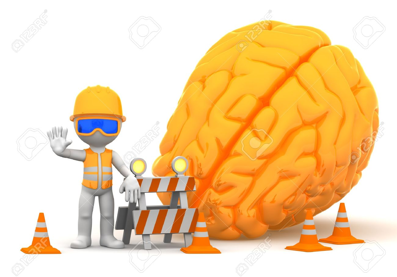 3d builder with big orange brain on background  Isolated Stock Photo - 12801304