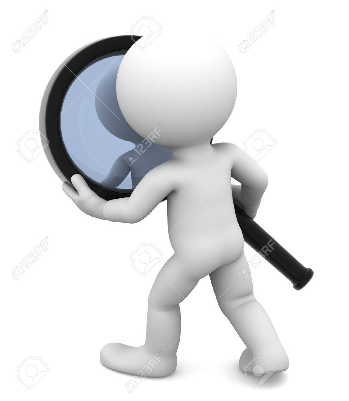 Man with magnifying glass  Isolated on white Stock Photo - 12801210