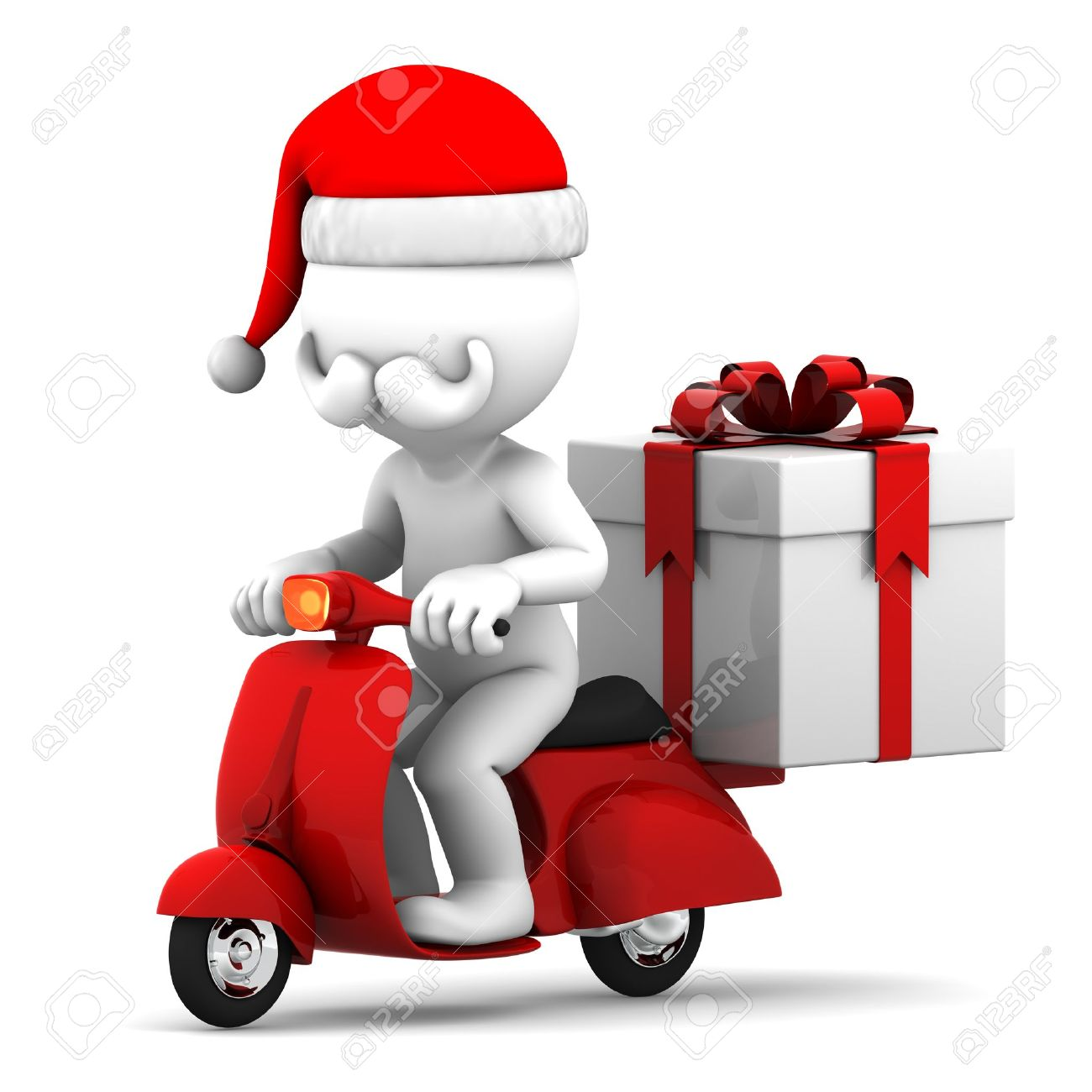 Santa Claus Delivering Christmas Gifts On A Scooter Stock Photo ...