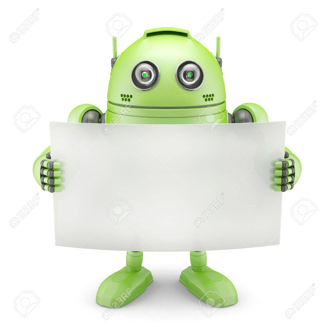 Android with blank banner  Isolated on white background