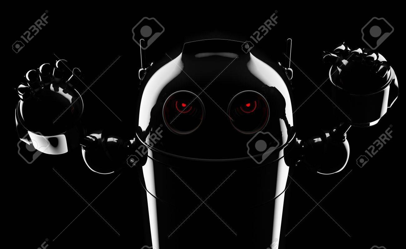Evil angry robot . Render on blackbackground Stock Photo - 17854984