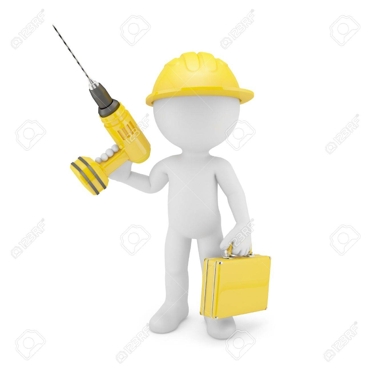 Worker with drill. Isolated on white Stock Photo - 18294186