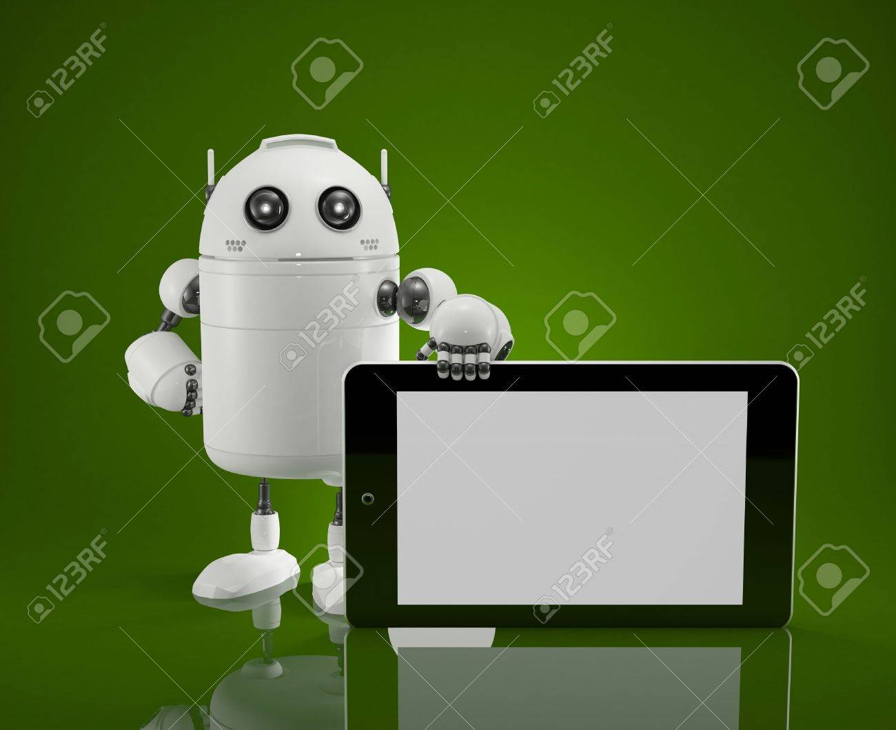 Robot with blanc screen tablet computer Stock Photo - 19495881