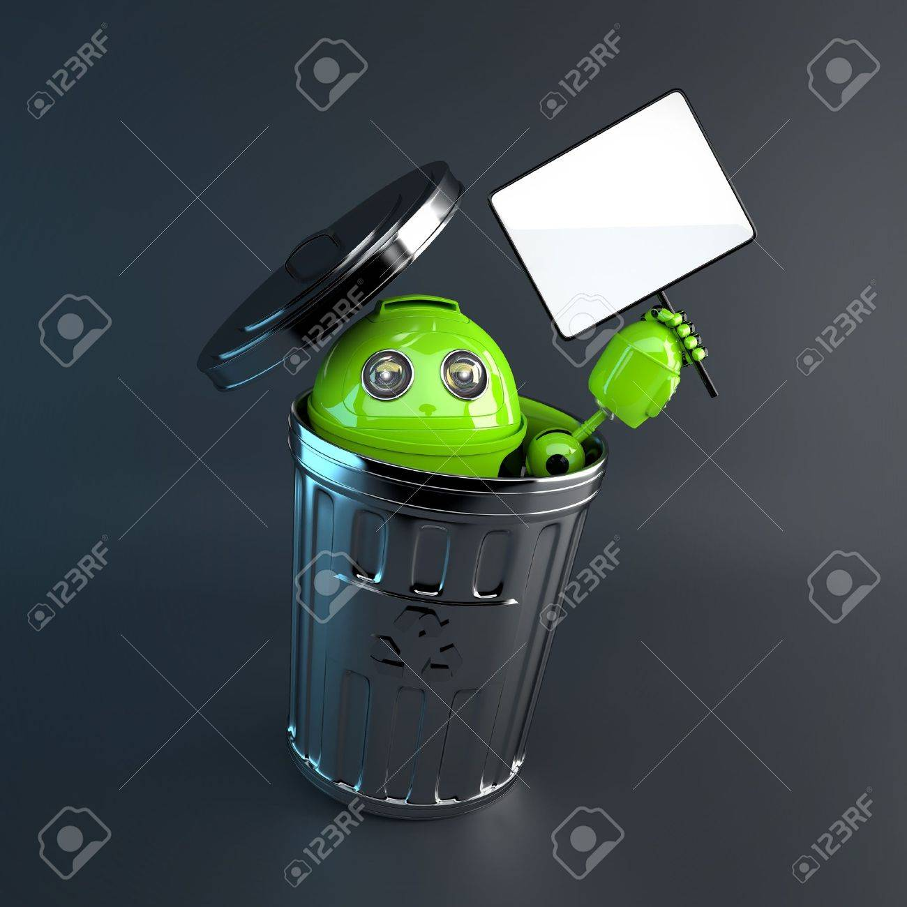 robot inside trash bin. Electronic recycle concept Stock Photo - 20275201