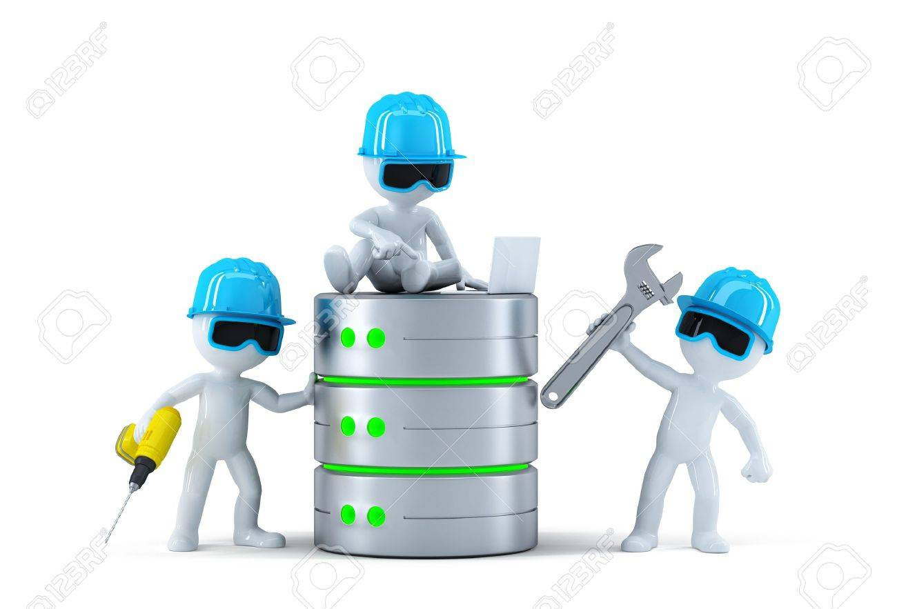 Group of technicians with data base. Technology concept. Isolated Stock Photo - 22060527