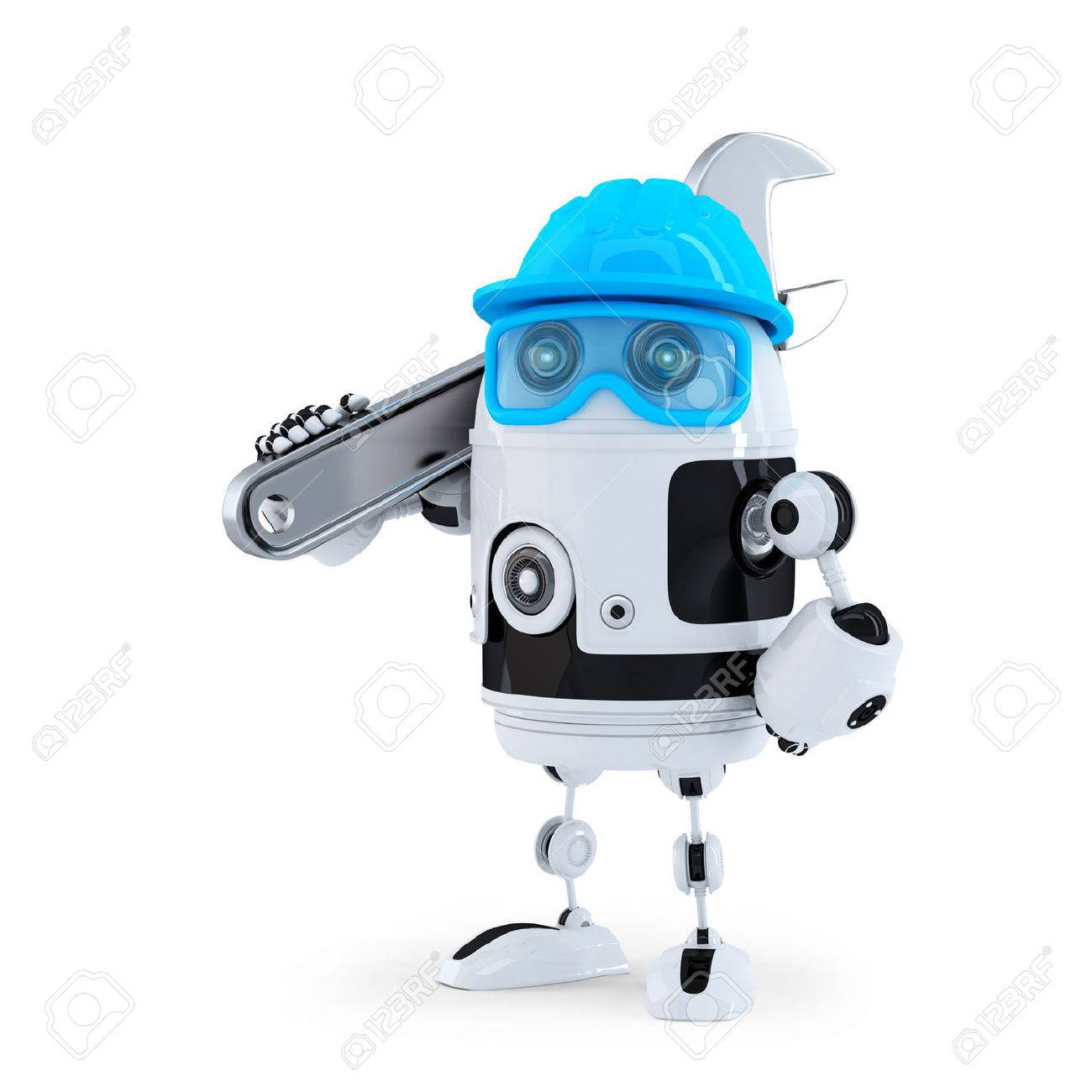3D Robot with adjustable wrench. Technology concept. Isolated. Contains clipping path Standard-Bild - 28219219