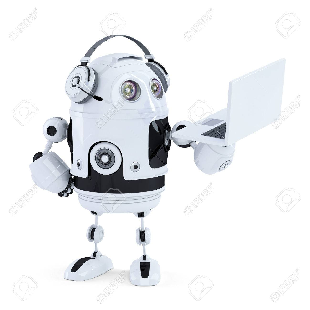 robot with headphones and laptop. Isolated. Contains clipping path Standard-Bild - 29607650